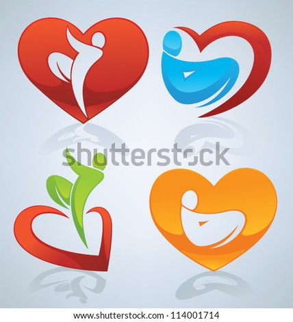 vector collection of bright and colorful  love, men and hearts - stock vector