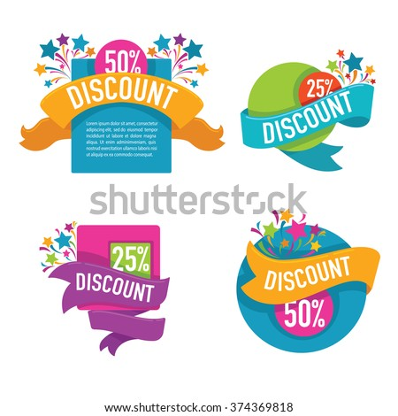 vector collection of bright discount tags, banners and stickers - stock vector