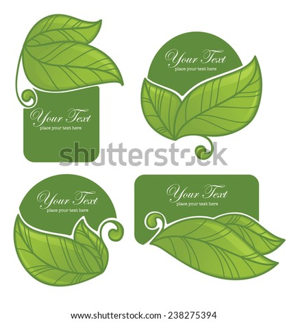 vector collection of bright green leaf frames and stickers in hand drawn style - stock vector