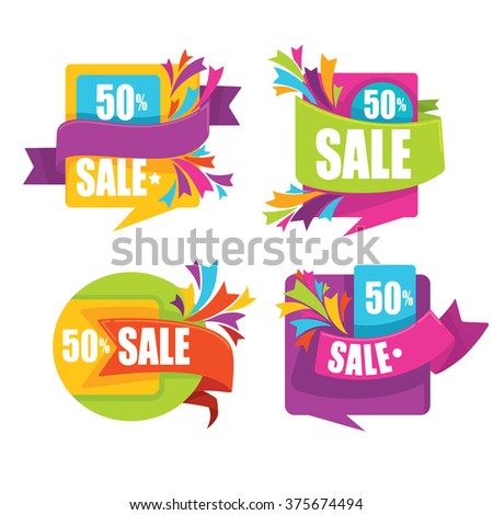 vector collection of bright sale tags, banners and stickers - stock vector