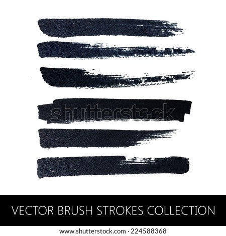 vector collection of brush strokes - stock vector