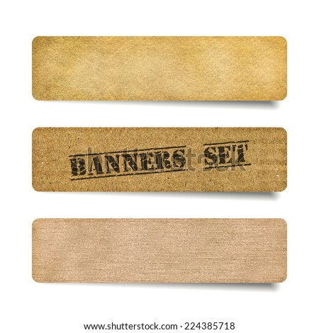 Vector collection of cardboard and old paper banners - stock vector