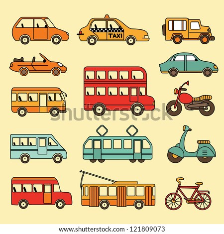 Vector collection of cars and buses. Icon with transport.
