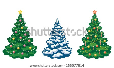 Vector collection of cartoon Christmas trees - stock vector