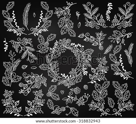 Vector Collection of Chalkboard Autumn and Thanksgiving Themed Floral Elements or Laurels