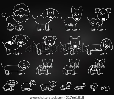 Vector Collection of Chalkboard Style Stick Figure Pets - stock vector