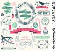 Vector collection of Christmas and New year's elements and hand drawn illustrations. Vector holiday elements. - stock