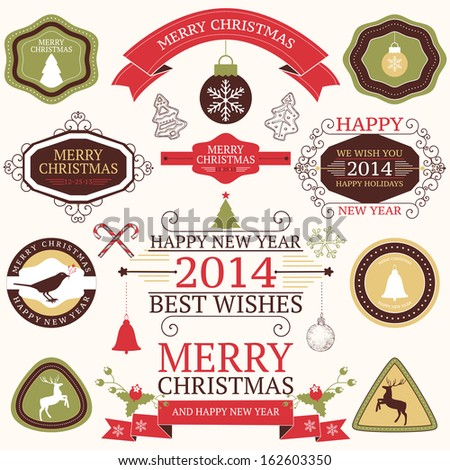Vector collection of Christmas and New year's  elements with hand drawn illustrations in retro colors.  - stock vector