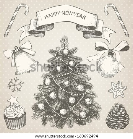 Vector collection of Christmas and New year's  hand drawn engraved illustrations. Vector holiday set on aged background - stock vector