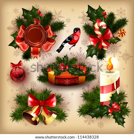 Vector collection of christmas items. - stock vector
