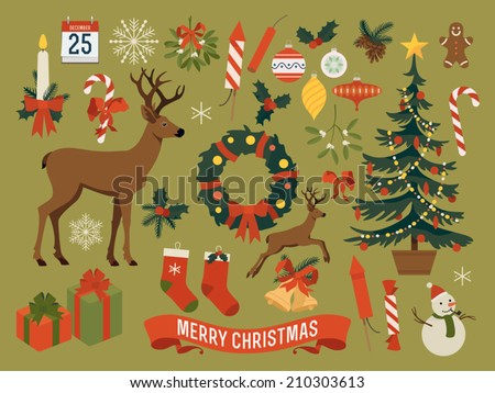 Vector Collection Of Christmas Items Elements And Decorations Featuring Deer Tree Gift