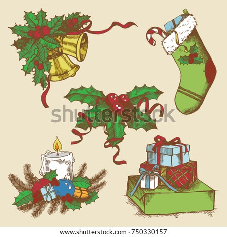 Vector collection of christmas items, elements and decorations, gift boxes, candle, and more