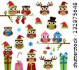 Vector Collection of Christmas Themed Owls - stock photo