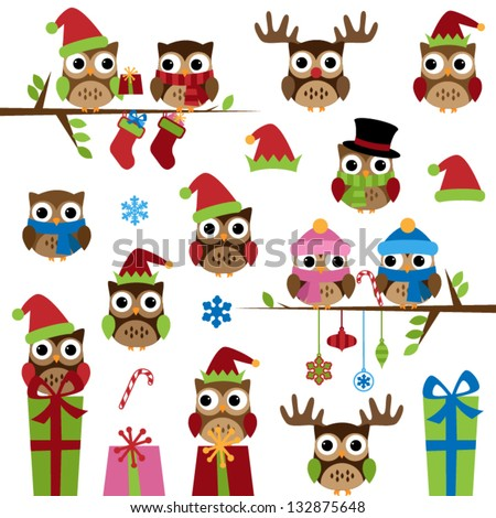 Vector Collection of Christmas Themed Owls - stock vector