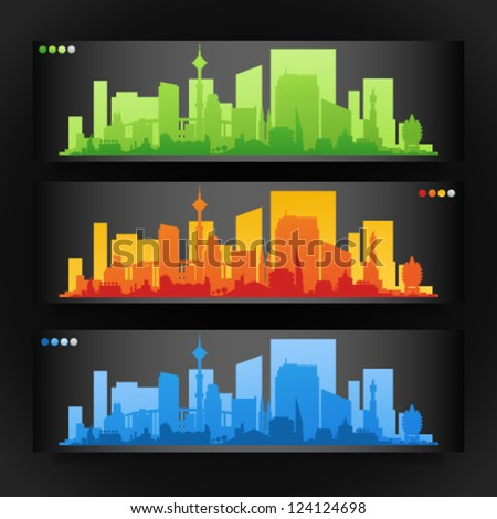 Vector collection of city skylines banners divided on layers for create parallax effect on your site. Image contains transparency in banner shadows and can be placed on every surface, EPS 10 - stock vector