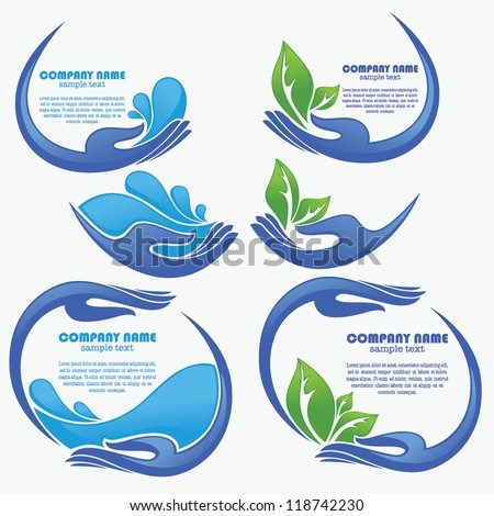 vector collection of clean women hands, fresh water and green leaves - stock vector