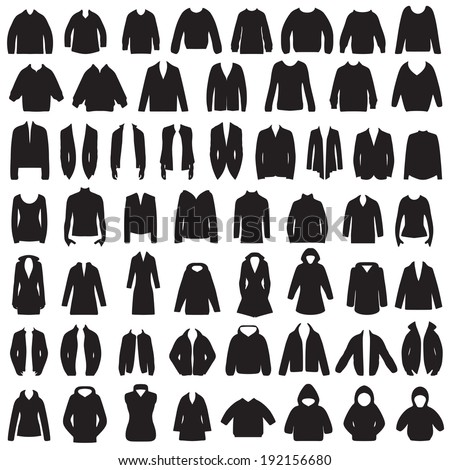 vector collection of clothing icons, isolated jacket, coat, sweater,blouse and suit  silhouette