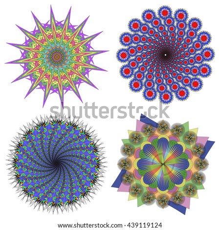 Vector collection of color mandalas.Contour spirograph, patterned design element, ethnic amulet. Doodling style. - stock vector