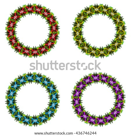 Vector collection of color monochrome mandalas.Contour spirograph, patterned design element, ethnic amulet. Doodling style. - stock vector