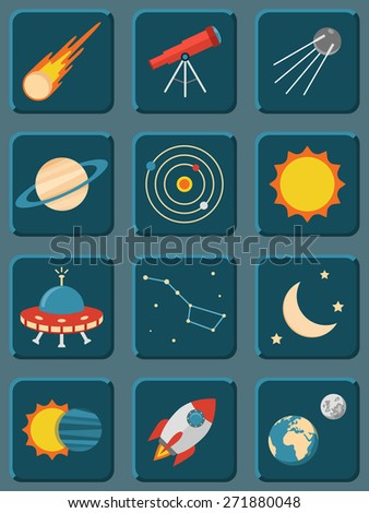 Vector collection of colorful flat astronomy and space icons - stock vector