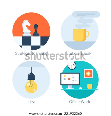 Vector collection of colorful flat business and finance icons. Design elements for mobile and web applications. - stock vector