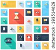 Vector collection of colorful flat business and finance icons with long shadow.  - stock