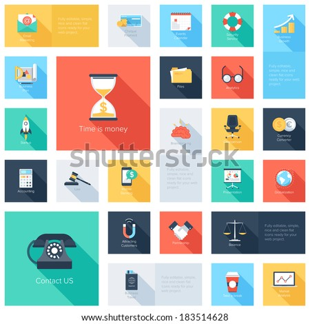 Vector collection of colorful flat business and finance icons with long shadow.  - stock vector