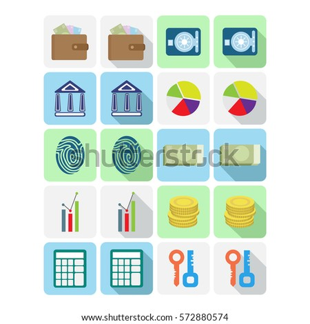 Vector Collection Of Colorful Flat Icons With Long Shadow. Design Elements  For Mobile And Web
