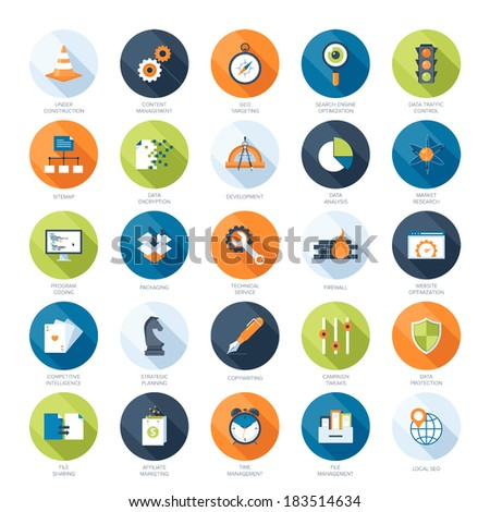 Vector collection of colorful flat search engine optimization icons with long shadow. - stock vector
