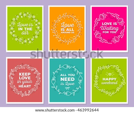Vector collection of colorful illustration of template with floral frames, flowers, inscriptions on color background. Hand drawn flat doodle art design of flower poster, party card, wedding invitation