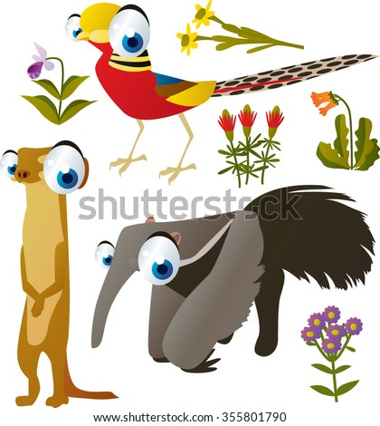 vector collection of comic cartoon styled animals for children. Set of Pheasant, Meerkat, anteater - stock vector