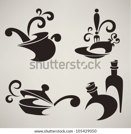 vector collection of cooking equipment and food symbols
