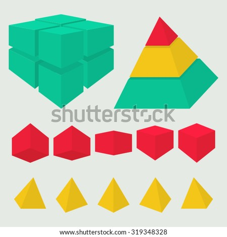 Vector collection of cubes and pyramids in several foreshortenings for reports, presentations or infographics.Set include pyramid and cube that were cut into several segments and layers. - stock vector