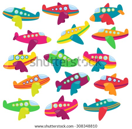 Vector Collection of Cute Airplanes or Airplane Toys - stock vector
