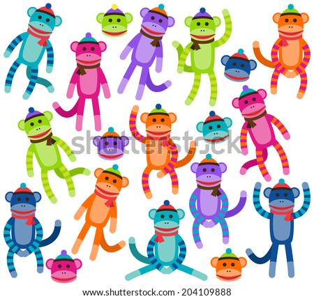 Vector Collection of Cute and Colorful Sock Monkeys - stock vector