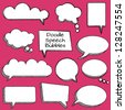Vector Collection of Cute Doodle Speech or Thought Bubbles - stock photo