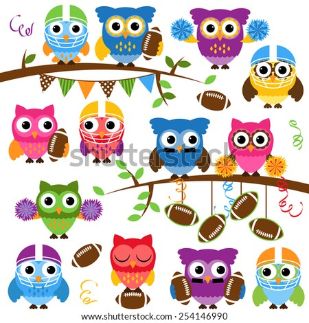 Vector Collection of Cute Football or Sports Themed Owls - stock vector