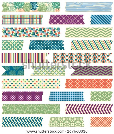 Vector Collection of Cute Patterned Washi Tape Strips in Masculine Colors - stock vector
