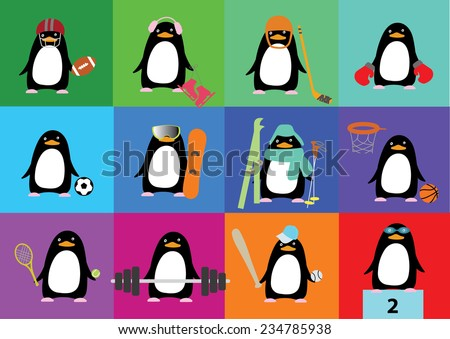 Vector collection of cute penguins with accessories of different sports - stock vector