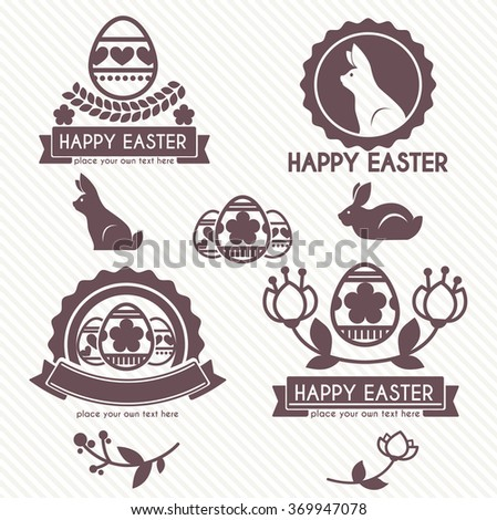 Vector collection of cute retro icons and logo badges  for easter design - stock vector
