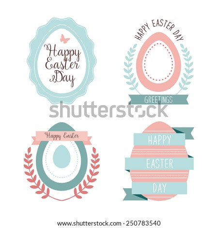 Vector collection of cute retro icons for easter design. Happy Easter Day. Easter design elements.  - stock vector