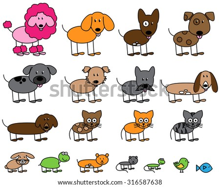 Vector Collection of Cute Stick Figure Pets and Animals - stock vector