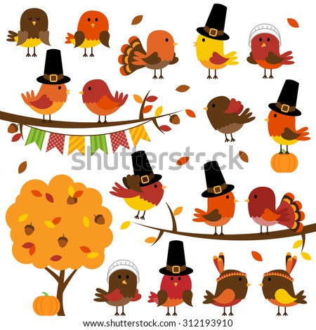 Vector Collection of Cute Thanksgiving and Autumn Birds - stock vector