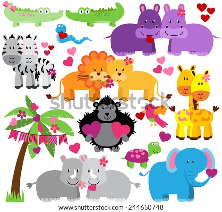 Vector Collection of Cute Valentine's Day or Love Themed Zoo Animals - stock vector