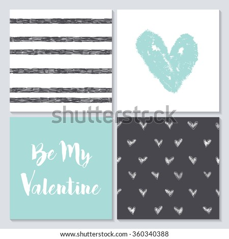 Vector collection of  4 cute Valentines card templates. Happy Valentine's Day - stock vector
