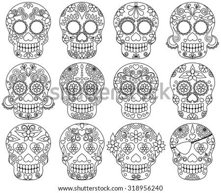 Vector Collection of Day of the Dead Skulls or Sugar Skulls - stock vector