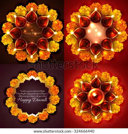 vector collection of decorated diwali diya with flowers background illustration - stock vector