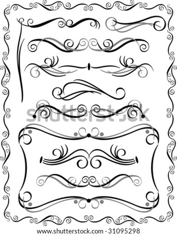Vector collection #3 of decorative border elements. - stock vector