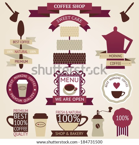 Vector collection of decorative coffee icons. Retro coffee silhouettes on aged background - stock vector