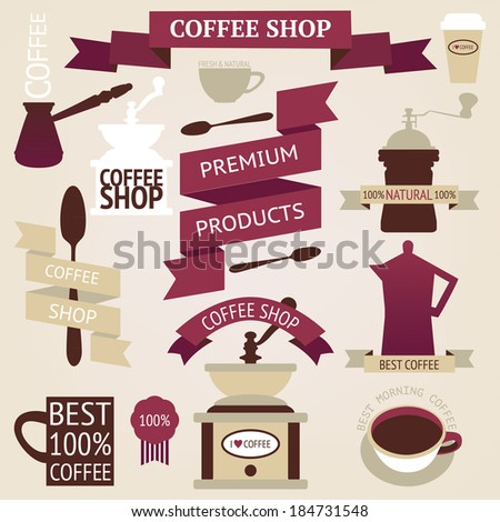 Vector collection of decorative coffee sticker and banner. Retro coffee silhouettes on aged background - stock vector